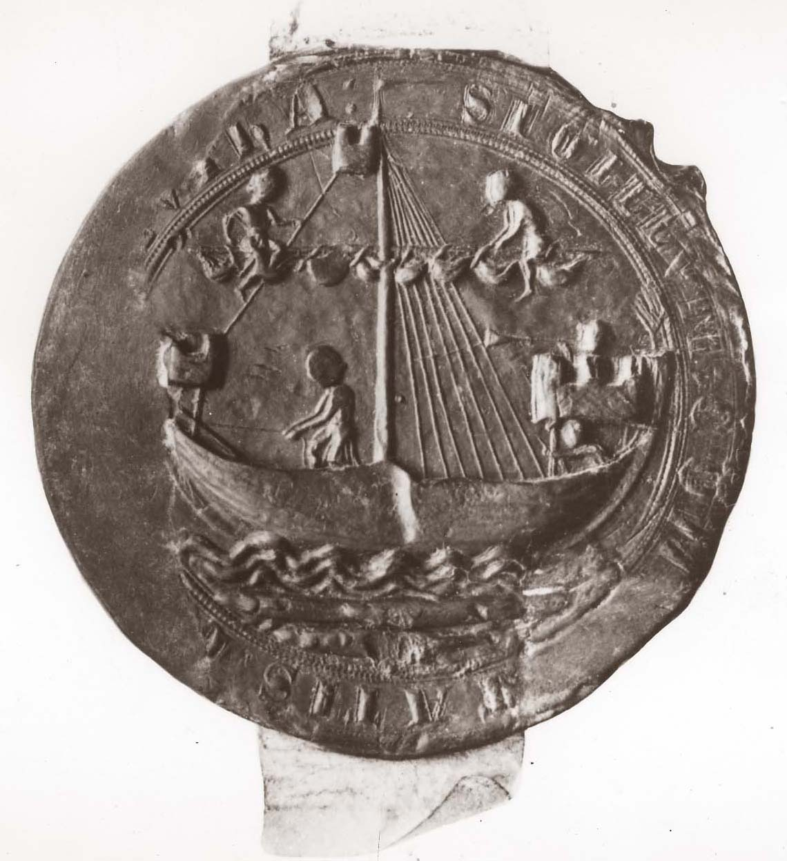 Men sailing a ship on the seal of the Borough of Yarmouth