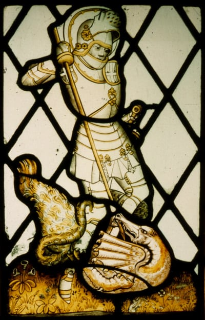 St George stained glass panel