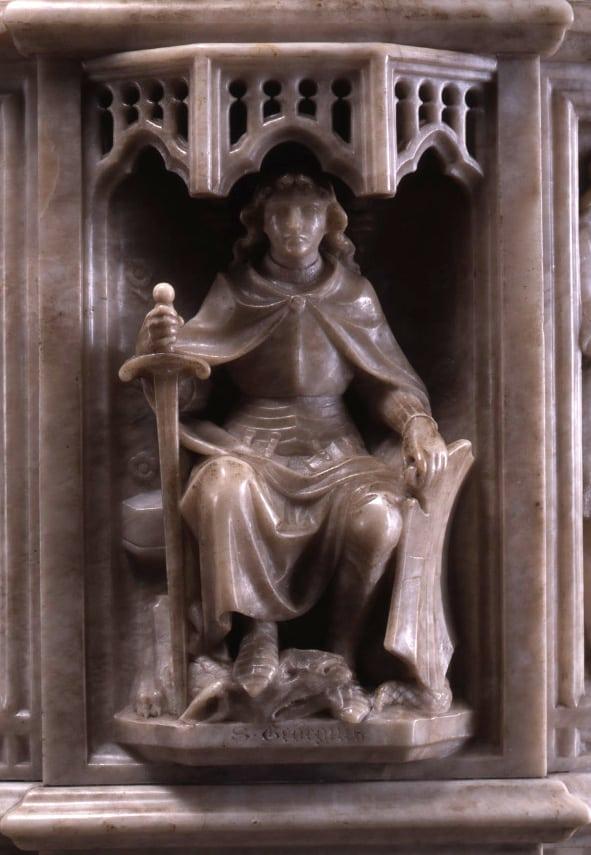Alabaster carving of St George