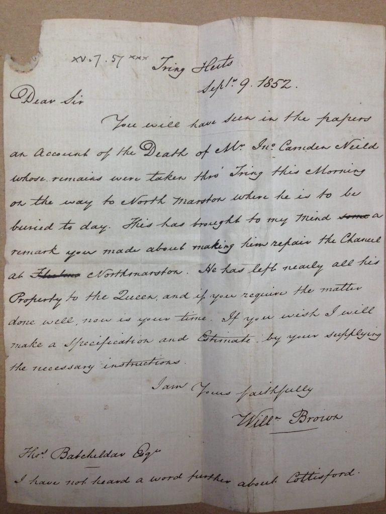 SGC.M. 1137/4/1- A letter from William Brown informing Thomas Batcheldor about the implications of the death of John Camden Neild in 1852.