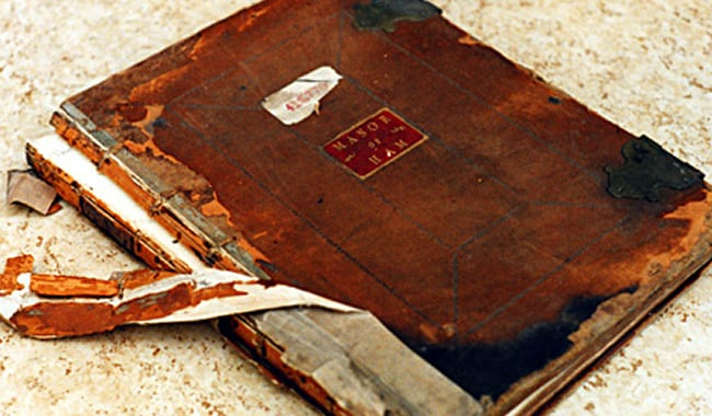 Book, before repair - St George's College