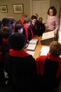 Choristers visiting the archives