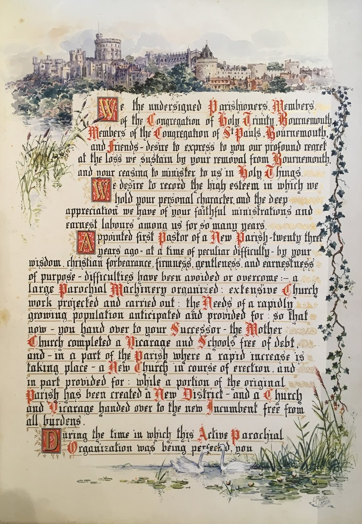 The opening message of the commemorative volume presented to Philip Frank Eliot by his parishioners in Bournemouth. Hand-written in black, red and gold ink and illustrated with a watercolour drawing of Windsor Castle.