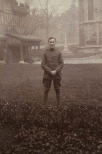 Alec Naylor in uniform in the Horseshoe Cloister