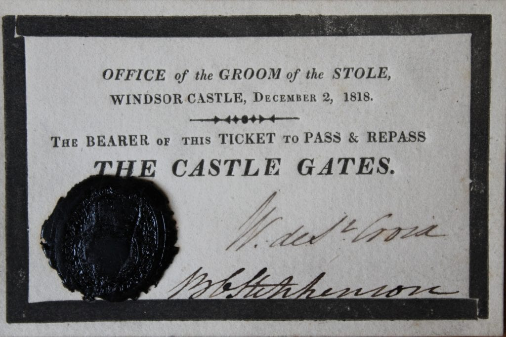 Ticket for the funeral of Queen Charlotte, December 1818