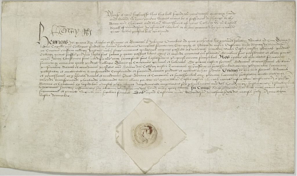 Digital image (DIG DOC.11) of SGC X.3.4. In 1521 Henry VIII signed a licence to create a door in the north wall of Windsor Castle.
