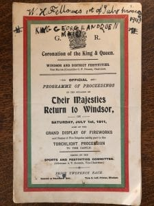 Programme for the return of King Geroge V and Queen Mary to Windsor after their coronation in 1911. Inscription at the top by William Fellowes, son of Minor Canon Edmund Fellowes.