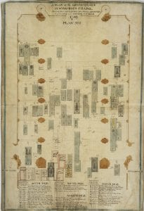 The featured image of the month - the plan of the gravestones produced by Emlyn in 1789 before St George's Chapel was repaved.
