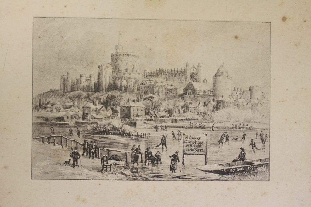 Christmas scene of Windsor Castle and ice-skaters sketched by A. Y. Nutt, Chapter Surveyor.