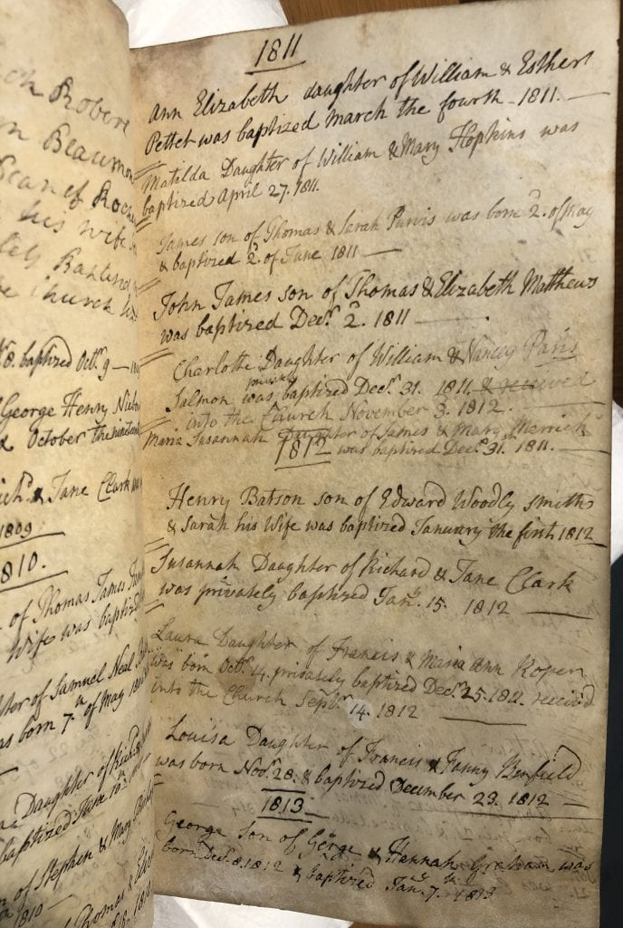 A page of the register of baptisms, SGC R.1, with entries for 1811 and 1812.