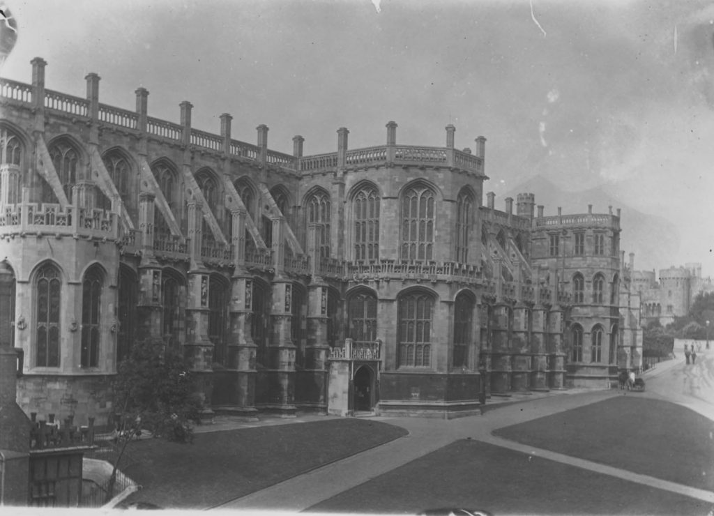 A photograph of the south front of St George's Chapel prior to the restoration and modification of the south transept. The porch is in its original position and there are no buttresses on the transept.