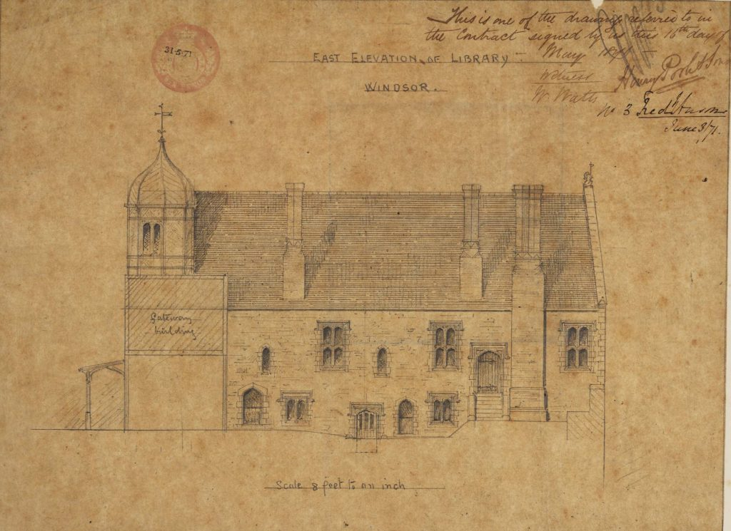 1871 plan of the east face of the Vicars' Hall, by H. Poole and Sons, builders. Signed by Harry Poole and Canon Frederick Anson.